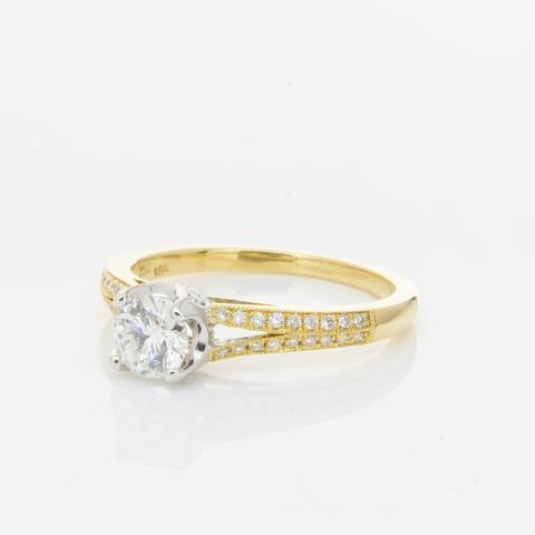 9ct Yellow Gold 0.50ct Moissanite Split Shank Ring South Africa