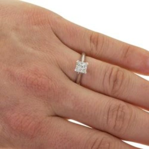 Moissanite Solitaire Ring in 9ct White Gold