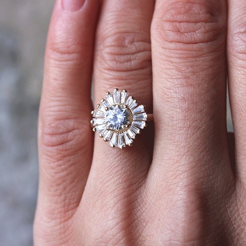 Moissanite Baguette Halo Ring South Africa