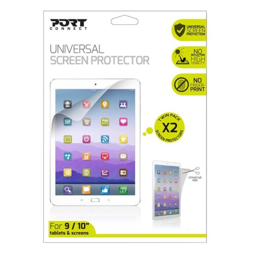 Port Connect Universal Screen Protector for 11 Tablets Twin Pack - Clear