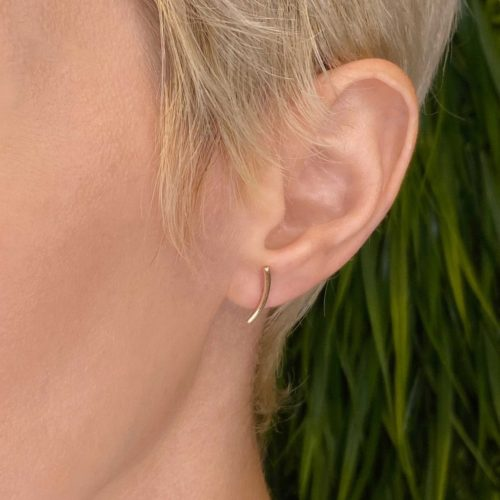 9ct Gold Curved Bar Earrings