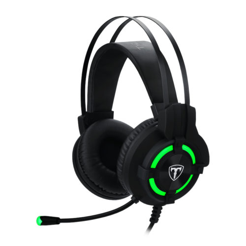 T-Dagger Andes Green Lighting 210cm Cable USB Omni-Directional Luminous Gooseneck Mic 40mm Bass Driver Stereo Gaming Headset - Black/Green