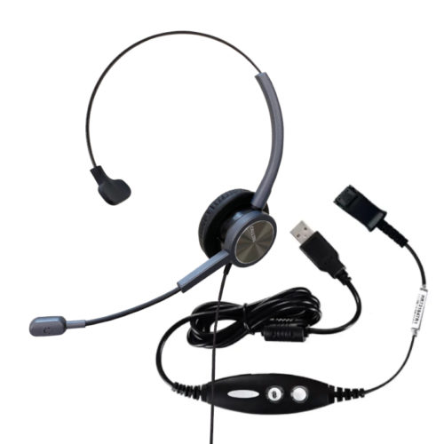 Calltel HW528N Mono-Ear Noise-Cancelling Headset + USB Quick Disconnect Cable