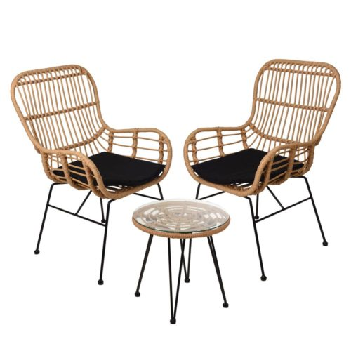 ecolifestyle.shop Garden Rattan Set of Two Chairs & Coffee Table - Set of 3