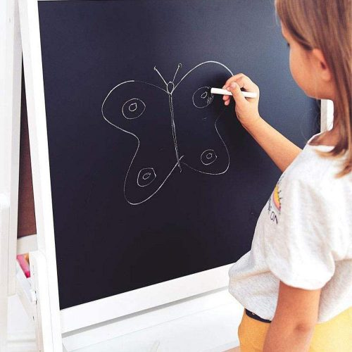 Kids Blackboard Wooden Stand with Chalk & Cleaner - Set of 6